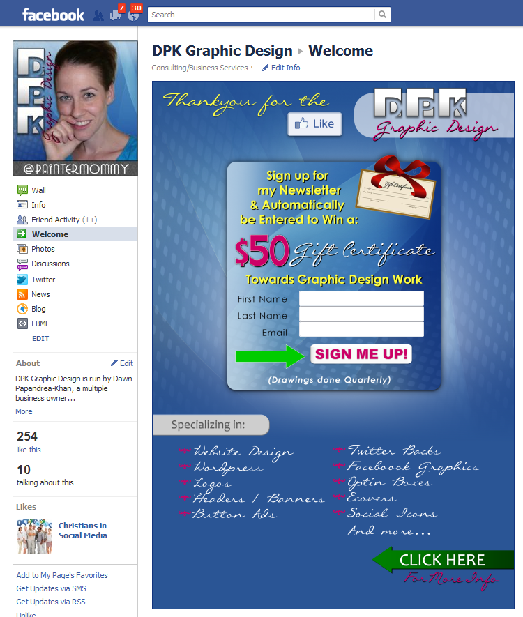 Custom Facebook Landing Page Design